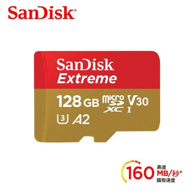 【SanDisk 晟碟】Extreme microSDXC UHS-I V30 A2 128GB 記憶卡(公司貨)