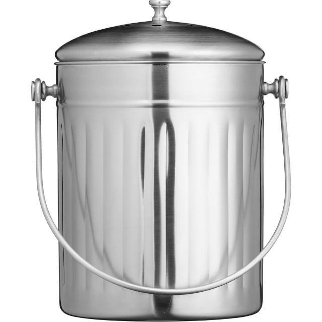 【KitchenCraft】復古不鏽鋼廚餘桶(5L)