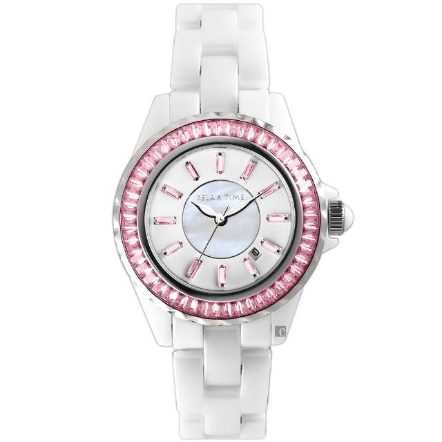 【Relax Time】經典陶瓷系列水晶手錶-粉色(RT-93-2)