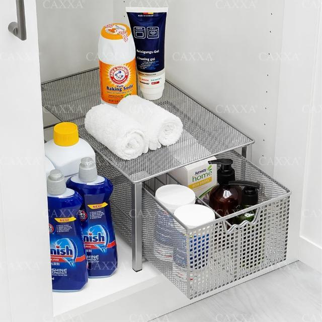 【CAXXA】下水槽收納架 單層抽屜式收納籃 廚房收納架 廚房置物架(水槽下收納架/廚房置物架/抽屜式置物架)