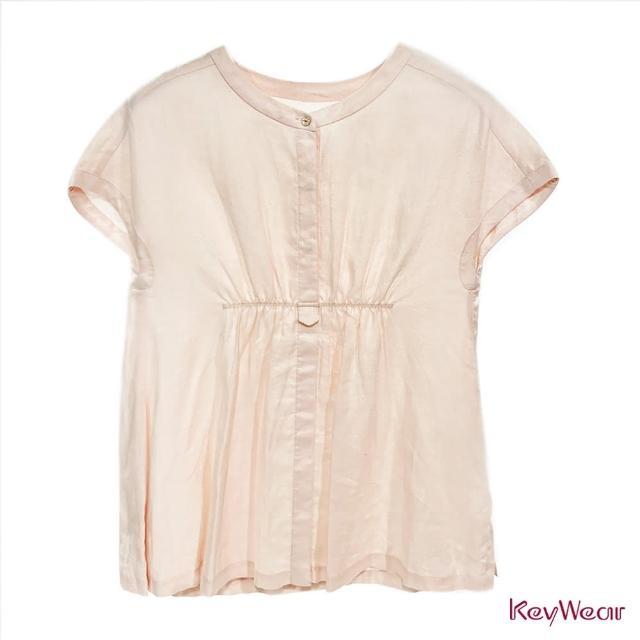 【KeyWear 奇威名品】清新風格純色抓褶麻料休閒造型上衣