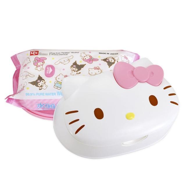 【LEC】LEC Hello Kitty 凱蒂貓 造型盒裝99.9%純水濕紙巾 80抽x1包(日本製純水濕巾)