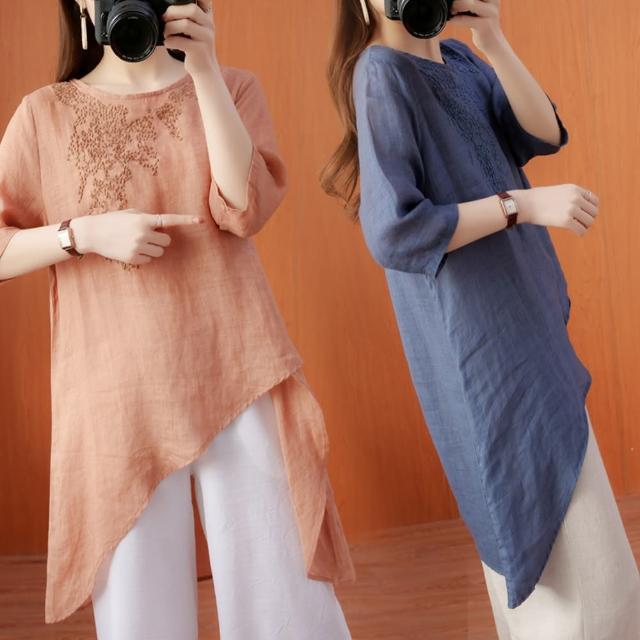 【A3】氣質刺繡棉麻上衣(舒適上衣)