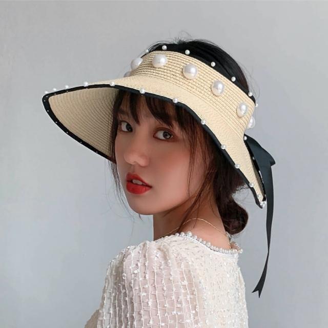 【89 zone】韓版時尚甜美珍珠大簷草編防曬空頂帽/遮陽帽(奶白)