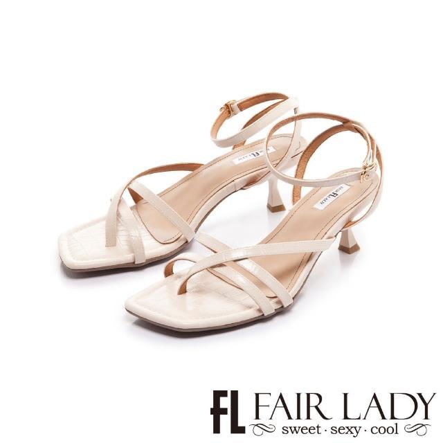 【FAIR LADY】初夏 壓紋線條交叉繞踝小貓跟涼鞋(奶油、202400)