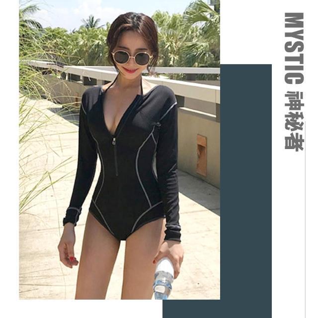 【mystic 神秘者】女泳裝 連身 三角 長袖 防曬 潛水 浮潛 衝浪 流行泳衣(黑色 M)