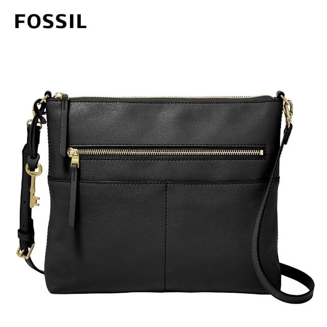 【FOSSIL】Fiona 真皮輕便休閒斜背包 大款-黑色 ZB1543001(可拆式內袋)
