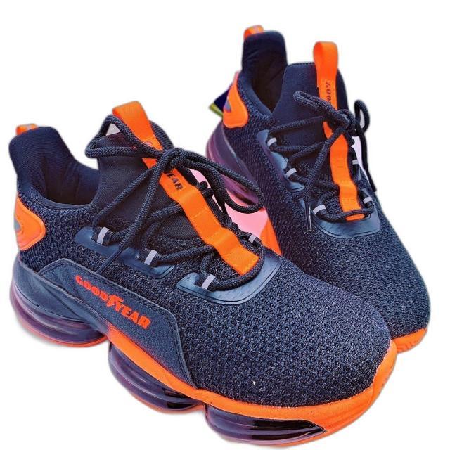 【樂樂童鞋】GOODYEAR大氣墊緩震運動鞋-黑橘-G002-1(現貨 男童鞋 運動鞋 大童鞋)