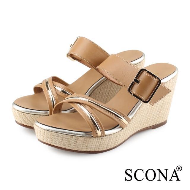 【SCONA 蘇格南】全真皮 時尚交叉楔型涼拖鞋(棕色 31109-1)