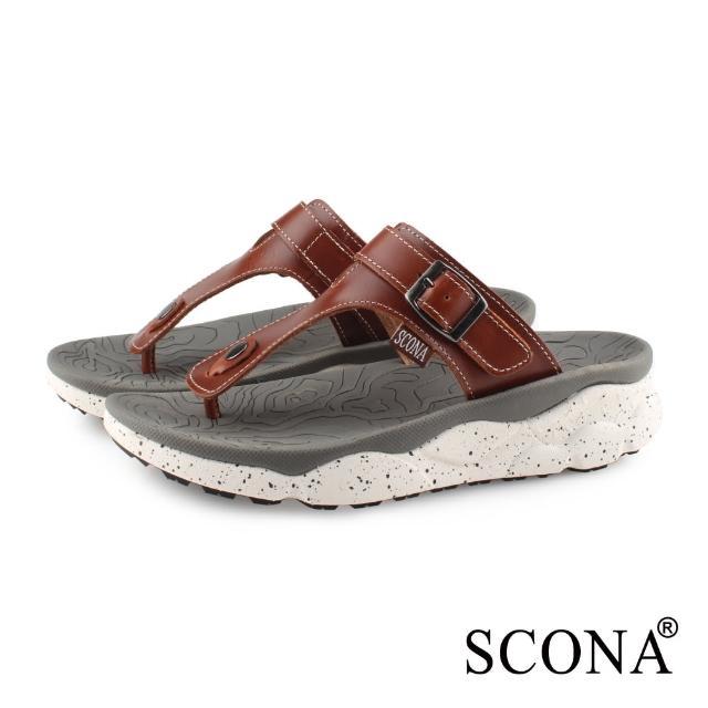 【SCONA 蘇格南】真皮 運動休閒舒適夾腳涼鞋-男款(淺咖色 1751-2)