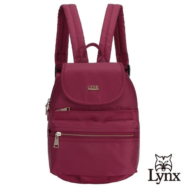 【Lynx】美國山貓輕量尼龍布包多隔層機能後背包 手提/雙肩/翻蓋(紅色)