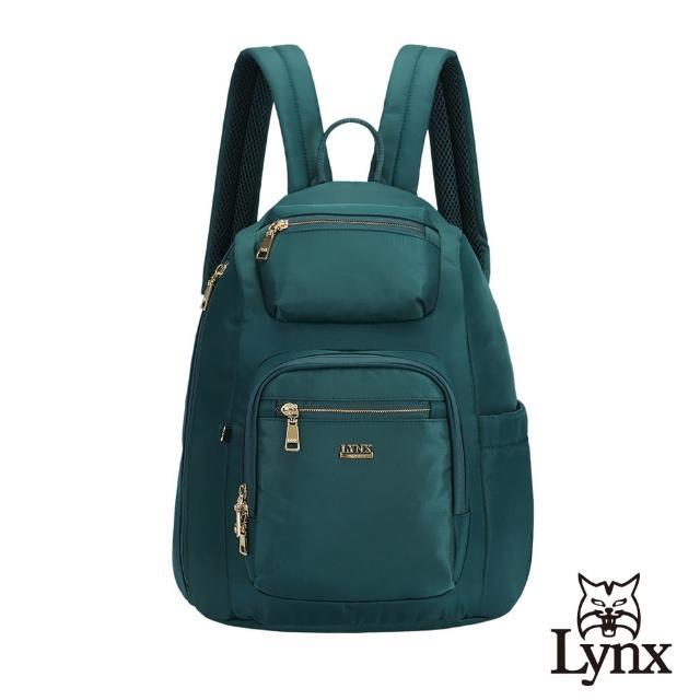 【Lynx】美國山貓輕量尼龍布包多隔層機能後背包 手提/雙肩(墨綠色)