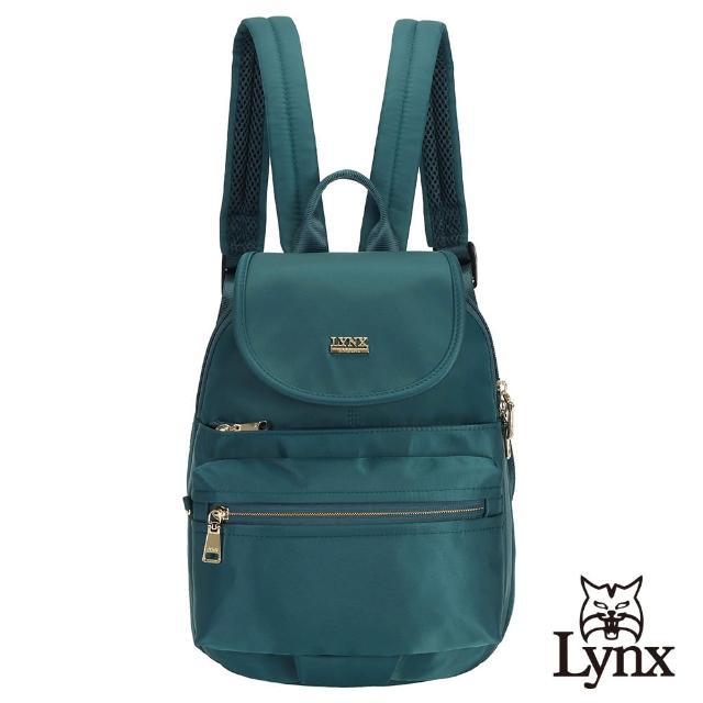 【Lynx】美國山貓輕量尼龍布包多隔層機能後背包 手提/雙肩/翻蓋(墨綠色)