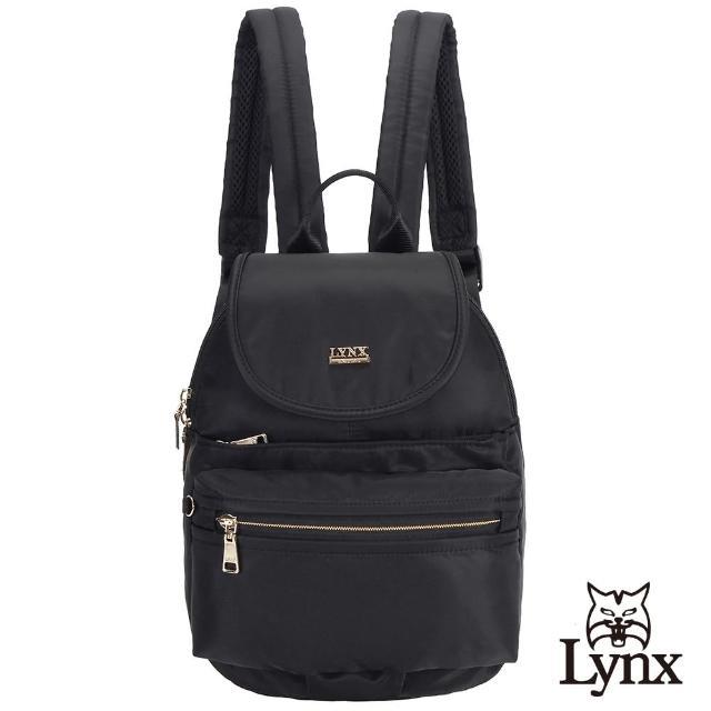 【Lynx】美國山貓輕量尼龍布包多隔層機能後背包 手提/雙肩/翻蓋(黑色)