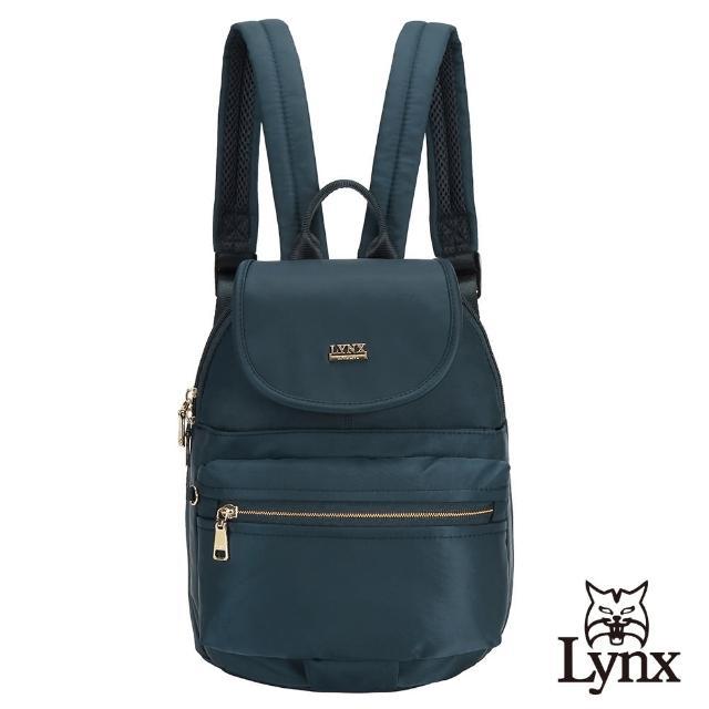 【Lynx】美國山貓輕量尼龍布包多隔層機能後背包 手提/雙肩/翻蓋(深藍色)