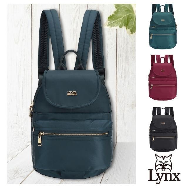 【Lynx】美國山貓輕量尼龍布包多隔層機能後背包 手提/雙肩/翻蓋(藍/綠/紅/黑 多色賣場)
