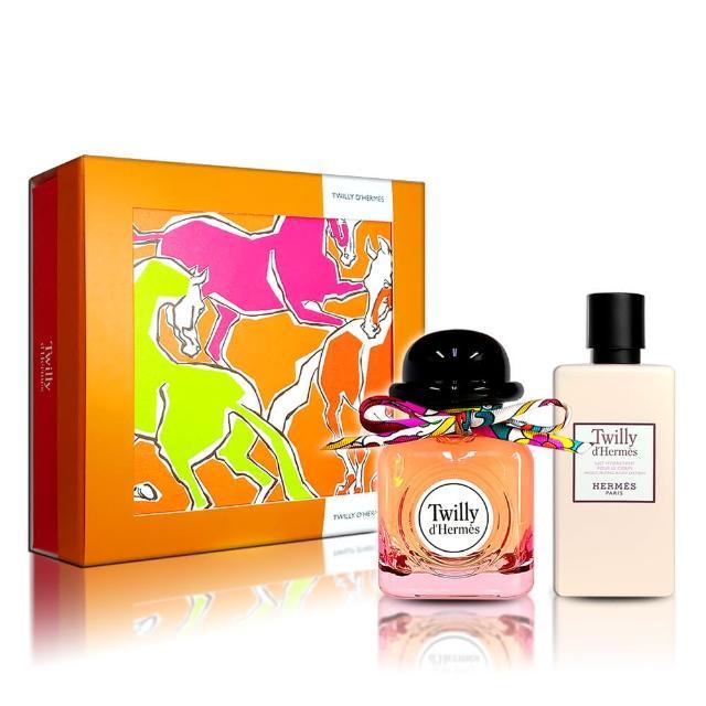 【Hermes 愛馬仕】Twilly 絲巾女性淡香精 85ml 禮盒(淡香精 85ML+7.5ML+身體乳80ML 航空版)