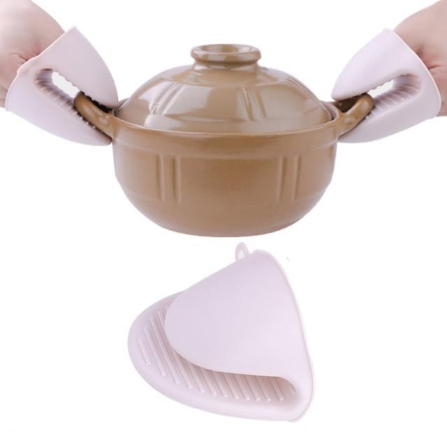 【PUSH!】廚房用品加厚防燙夾隔熱夾矽膠隔熱手套(2入D143)
