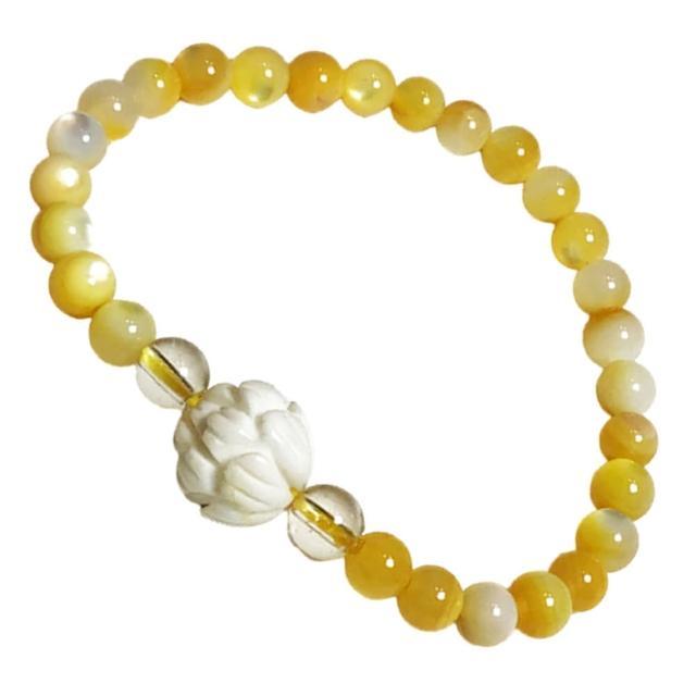 【十方佛教文物】蓮花+黃金硨磲手珠6mm(大悲咒加持108遍以上)