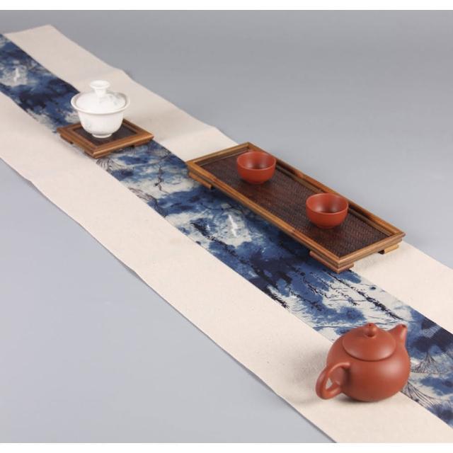 【原藝坊】復古棉麻吸水雙層加厚茶巾茶席 兩款任選(30*180公分)