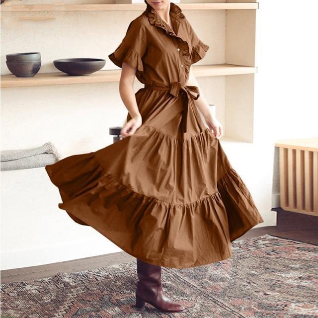 【Pure 衣櫃】拼接荷葉袖蛋糕裙洋裝(修身/舒適/百搭/KDD-8653)