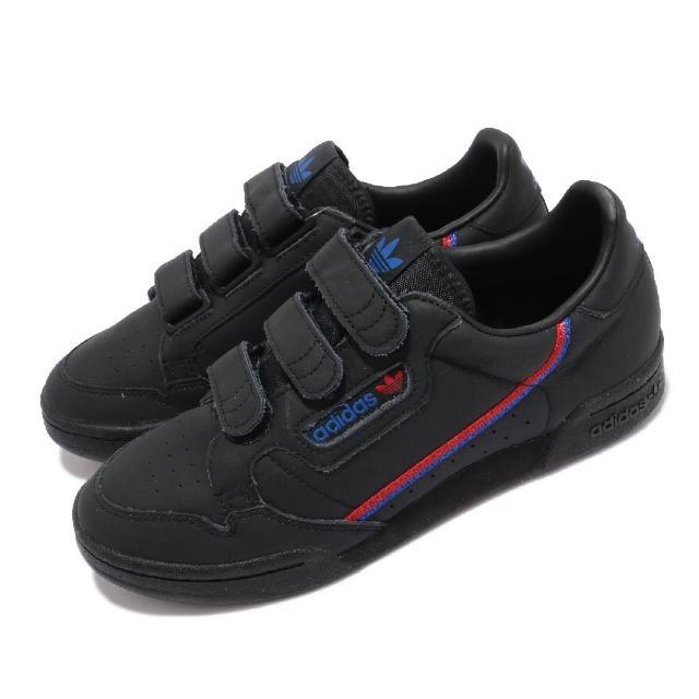 【adidas 愛迪達】休閒鞋 Continental 80 運動 女鞋 愛迪達 魔鬼氈 經典款 簡約 穿搭 黑 藍(EE5576)