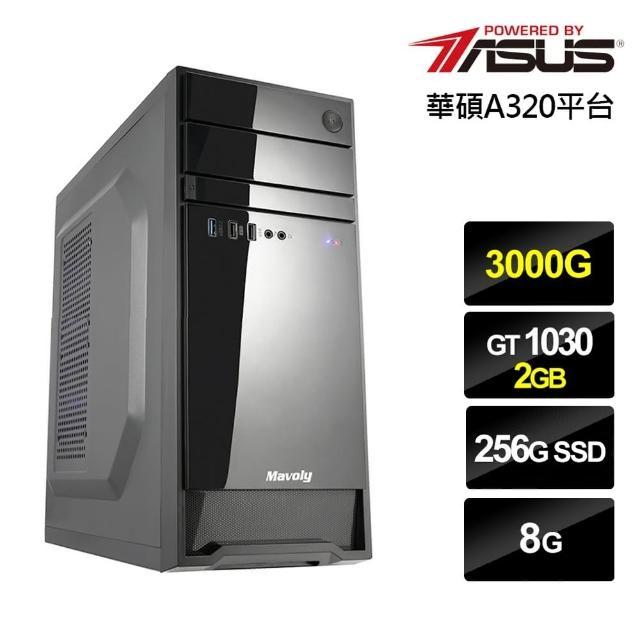 【華碩平台】AMD雙核{黑金巫師II}GT1030獨顯電玩機(3000G/8G/256G_SSD/GT1030-2G)