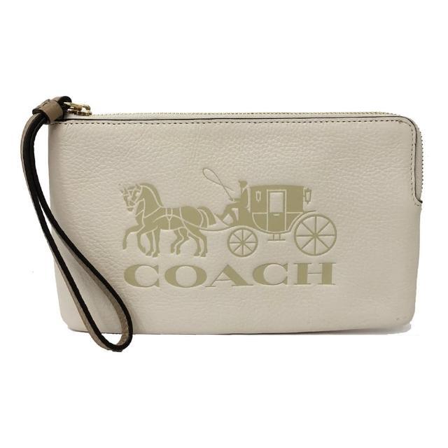 【COACH】經典大馬車 LOGO大手拿零錢包(米白)