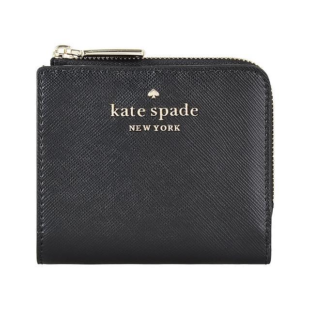 【KATE SPADE】Kate Spade STACI金字LOGO十字紋牛皮6卡扣式短夾(黑)