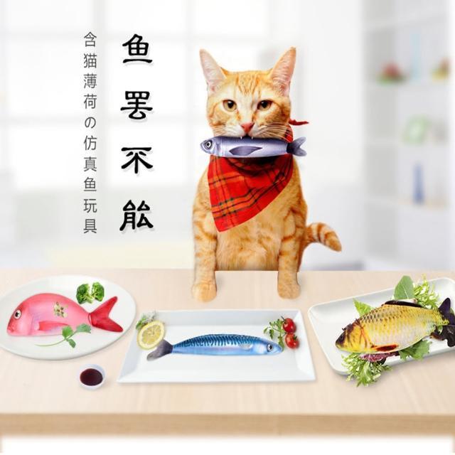 【KOTI 日安生活】一盤鮮魚貓薄荷魚玩具套組(寵物玩具/仿真魚/逗貓棒)
