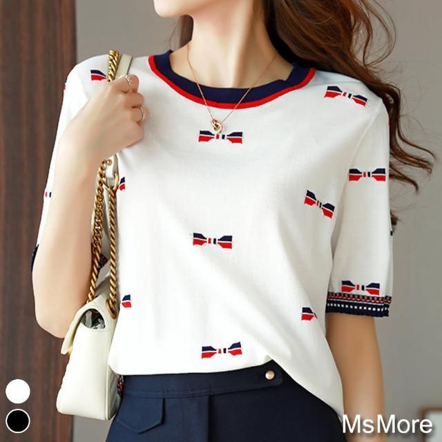【MsMore】目光焦點蝴蝶結拼色冰絲針織上衣#109507現貨+預購(2色)
