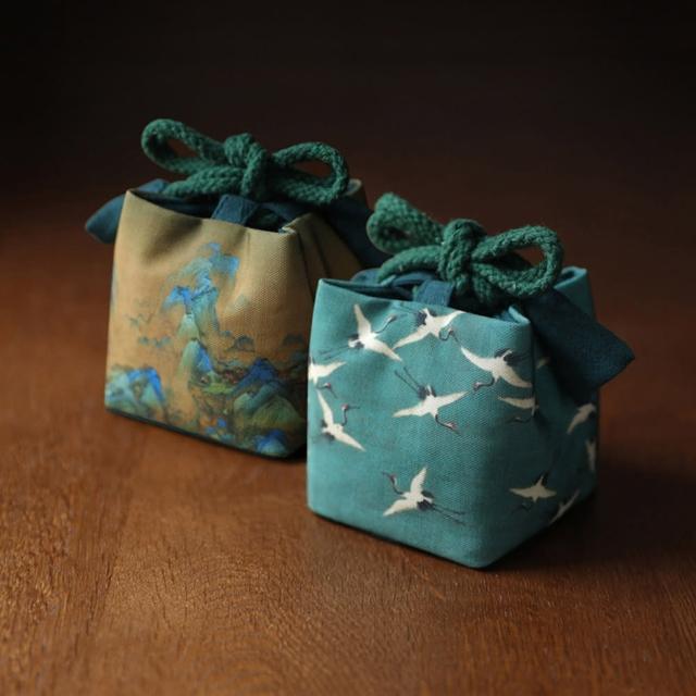 【原藝坊】復古風 加厚棉麻茶具收納包 布包(祥鶴 千里江山 兩款任選)