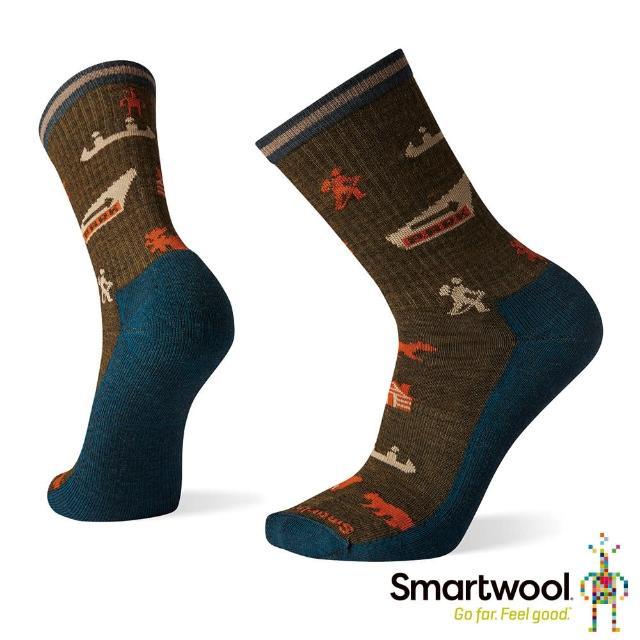 【SmartWool】輕型徒步印花中長襪-國家公園(軍風橄綠)