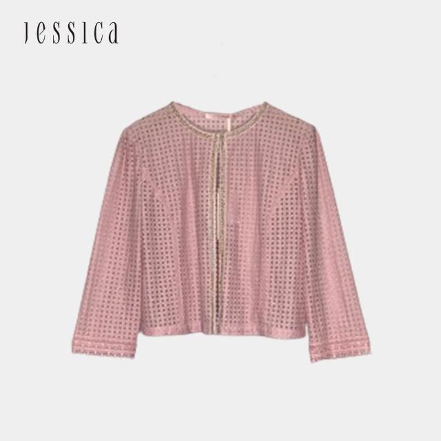 【JESSICA】百搭精緻鏤空鑲邊短外套(粉色)