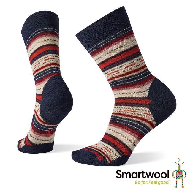 【SmartWool】女 瑪格麗特紋中長襪(深海軍藍)