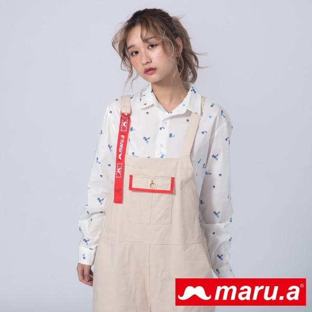 【maru.a】暈染點點鬍子滿版印花襯衫(白色)