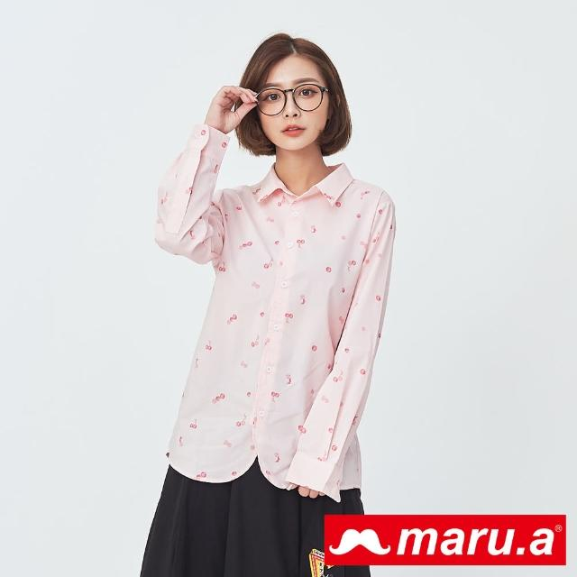 【maru.a】暈染點點鬍子滿版印花襯衫(粉色)