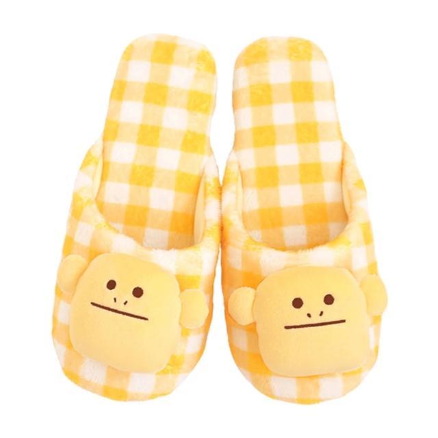 【CRAFTHOLIC 宇宙人】多汁檸檬格紋猴室內拖鞋-加大(多汁系列)