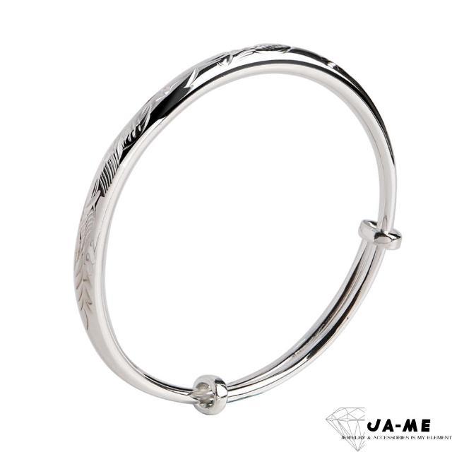 【JA-ME】999.9千足銀龍鳳呈祥實心圓骨銀鐲