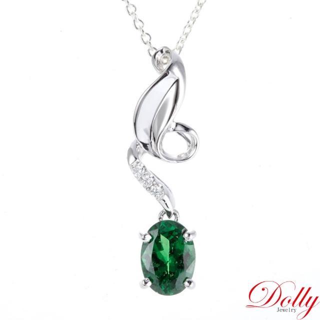 【DOLLY】無燒沙佛萊1克拉 14K金鑽石項鍊