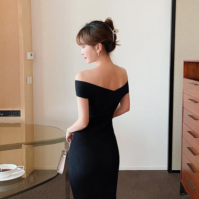 【女神婚紗禮服店】黑色針織一字領無袖洋裝 提貨券(黑色洋裝 小禮服 針織)