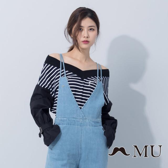 【maru.a】MU 胸口MU刺繡拼接V領上衣(藍色)