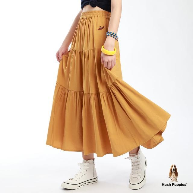 【Hush Puppies】女裝棉麻混紡腰鬆緊蛋糕裙(黃 /13223104)