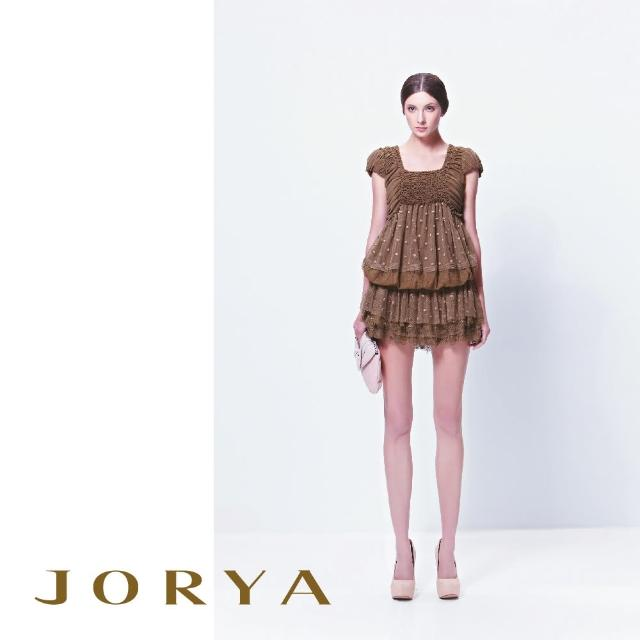 【JORYA】13TX006唯美點點荷葉蕾絲霧感桑蠶絲短裙