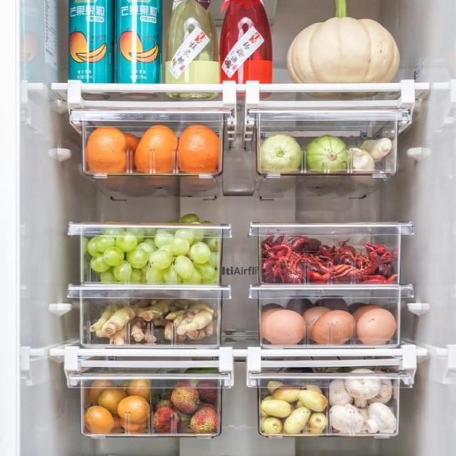 【AOTTO】抽屜式冰箱保鮮收納盒2件組(空格/四格)