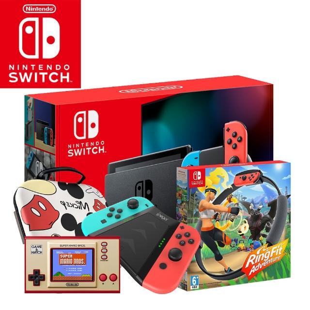 【Nintendo 任天堂】Switch電續加強藍紅主機+《健身環》+《Game & Watch》+《收納包》+《JOY-CON握把》