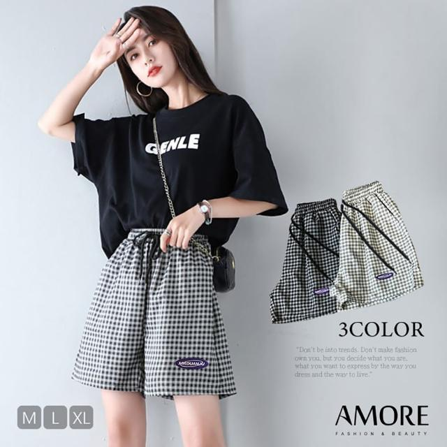 【Amore】夏日顯瘦經典格紋短褲(氣質涼爽超好穿)