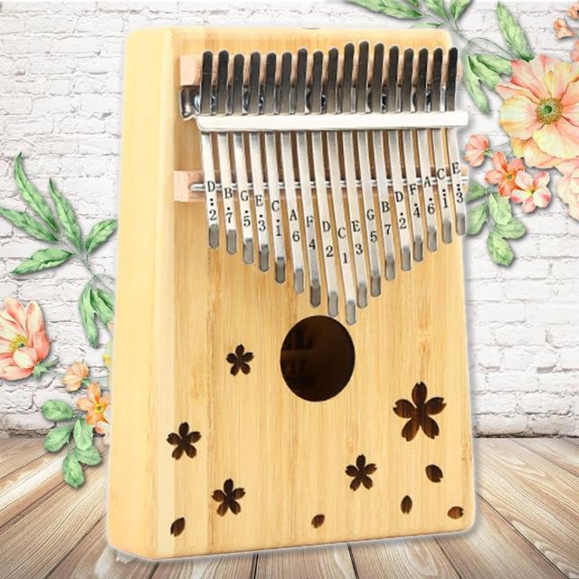 【美佳音樂】Kalimba 卡林巴琴/拇指琴-超值全配.17音金絲楠竹單板-櫻花飄(贈旅行包)