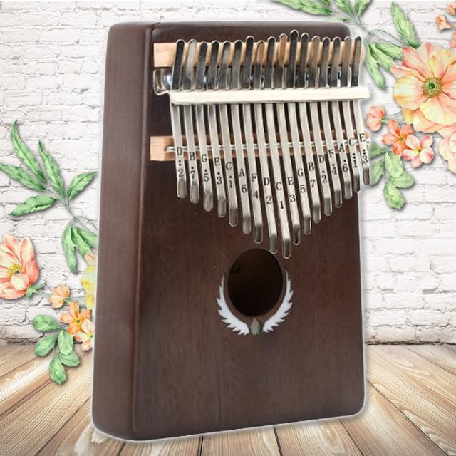 【美佳音樂】Kalimba 卡林巴琴/拇指琴-超值全配.17音桃花芯木單板-復古色/羽翼鑲貝(贈旅行包)