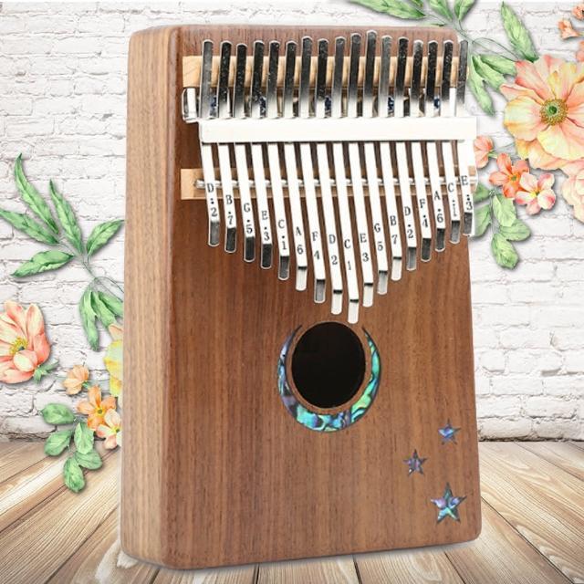 【美佳音樂】Kalimba 卡林巴琴/拇指琴-超值全配.17音胡桃木單板-星月鑲貝(贈旅行包)